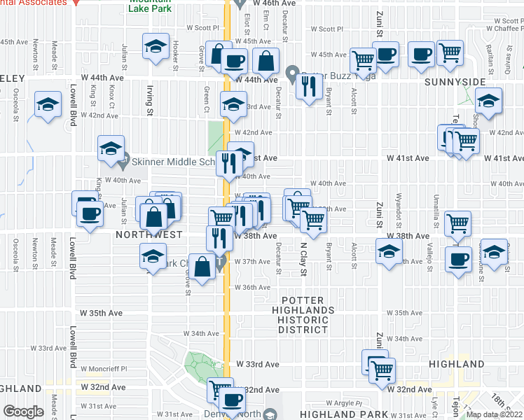 map of restaurants, bars, coffee shops, grocery stores, and more near 2903 West Denver Place in Denver