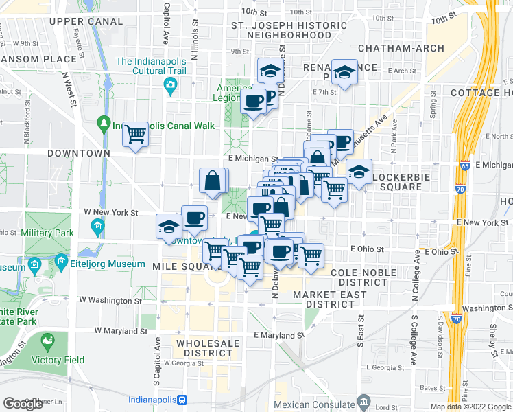 map of restaurants, bars, coffee shops, grocery stores, and more near 307 North Pennsylvania Street in Indianapolis