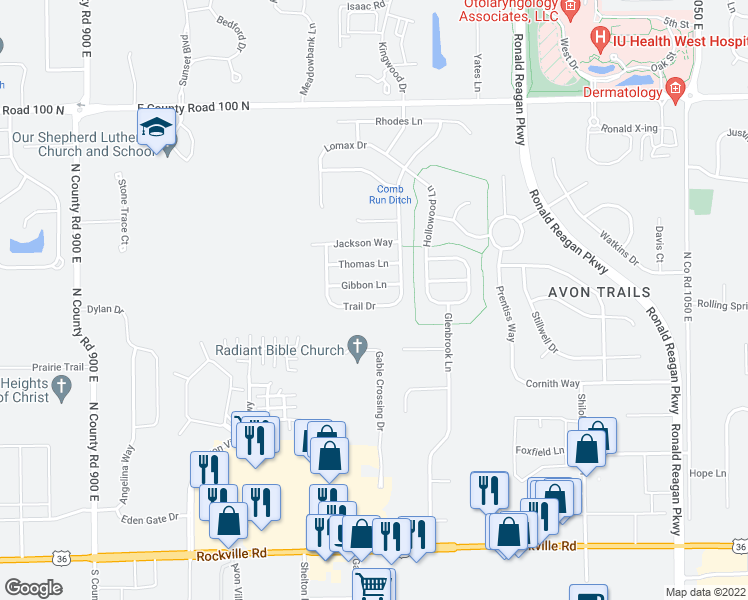 map of restaurants, bars, coffee shops, grocery stores, and more near 9718 Gibbon Lane in Avon