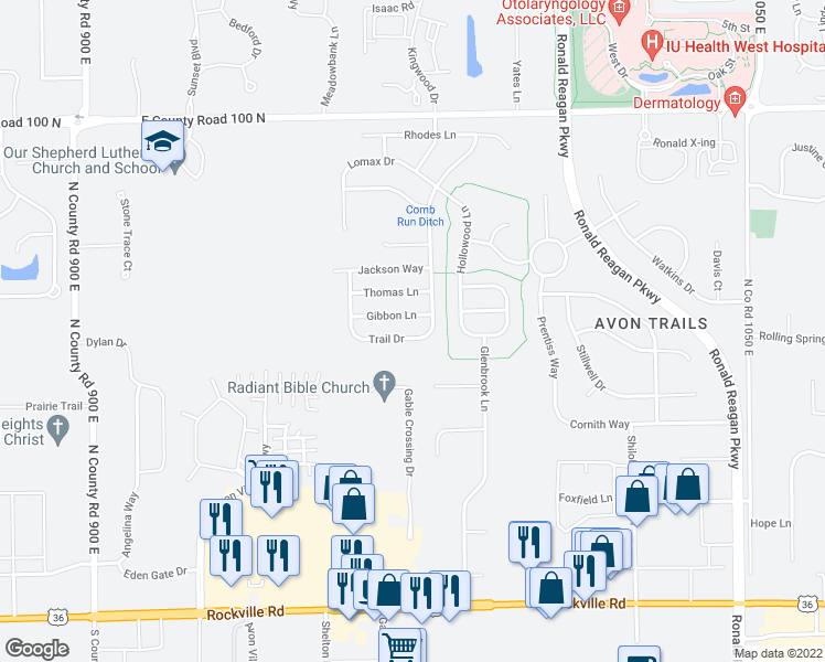 map of restaurants, bars, coffee shops, grocery stores, and more near 9798 Gibbon Lane in Avon