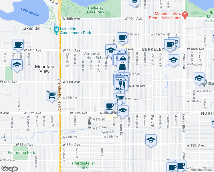 map of restaurants, bars, coffee shops, grocery stores, and more near 3968 Vrain Street in Denver