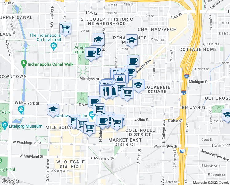 map of restaurants, bars, coffee shops, grocery stores, and more near Massachusetts Avenue & North Alabama Street in Indianapolis