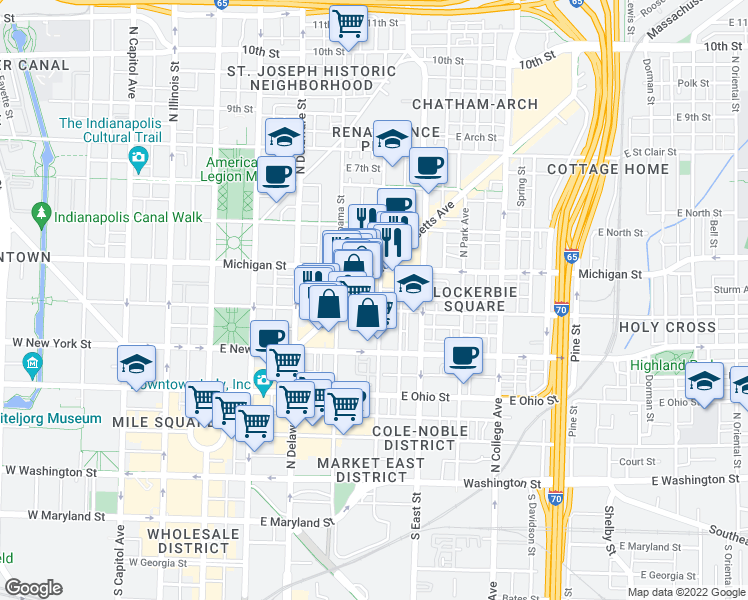 map of restaurants, bars, coffee shops, grocery stores, and more near 459 Massachusetts Avenue in Indianapolis
