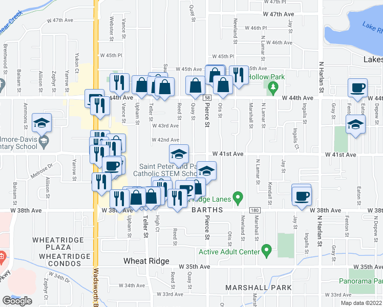 map of restaurants, bars, coffee shops, grocery stores, and more near 4085 Quay Street in Wheat Ridge
