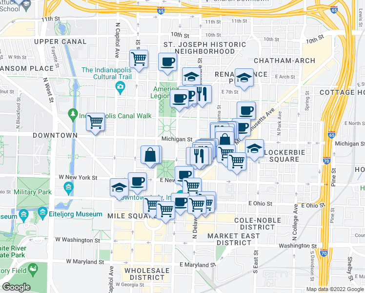 map of restaurants, bars, coffee shops, grocery stores, and more near 429 North Pennsylvania Street in Indianapolis