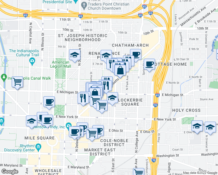 map of restaurants, bars, coffee shops, grocery stores, and more near 551 Massachusetts Avenue in Indianapolis