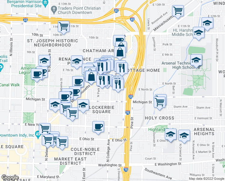 map of restaurants, bars, coffee shops, grocery stores, and more near None in Indianapolis