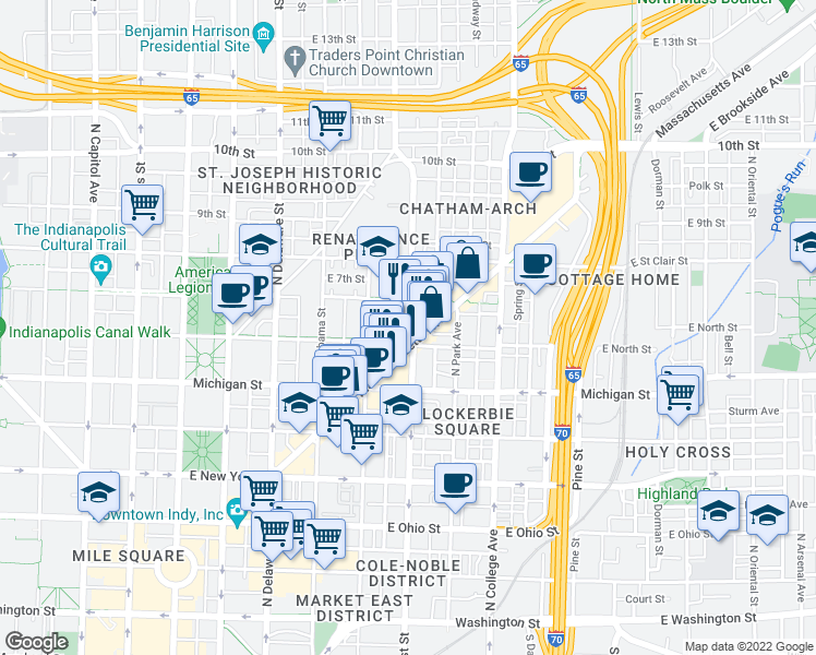 map of restaurants, bars, coffee shops, grocery stores, and more near 610 North East Street in Indianapolis