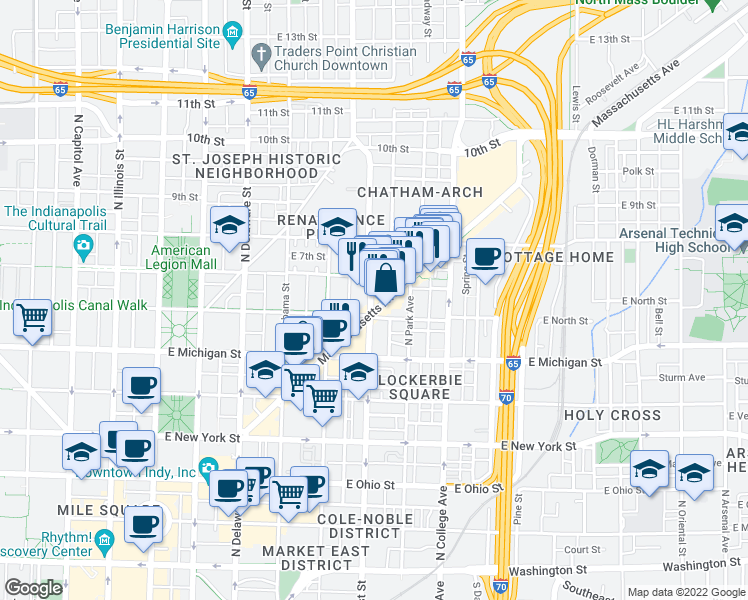 map of restaurants, bars, coffee shops, grocery stores, and more near 613 North East Street in Indianapolis