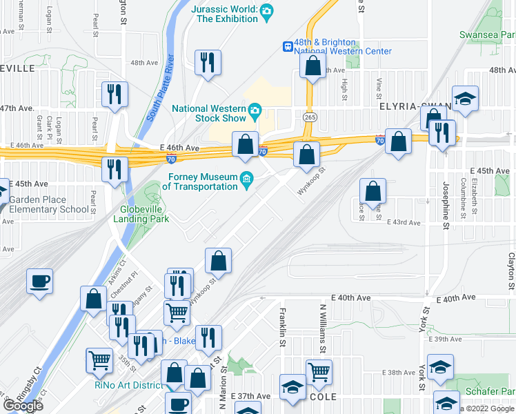 map of restaurants, bars, coffee shops, grocery stores, and more near Brighton Boulevard in Denver