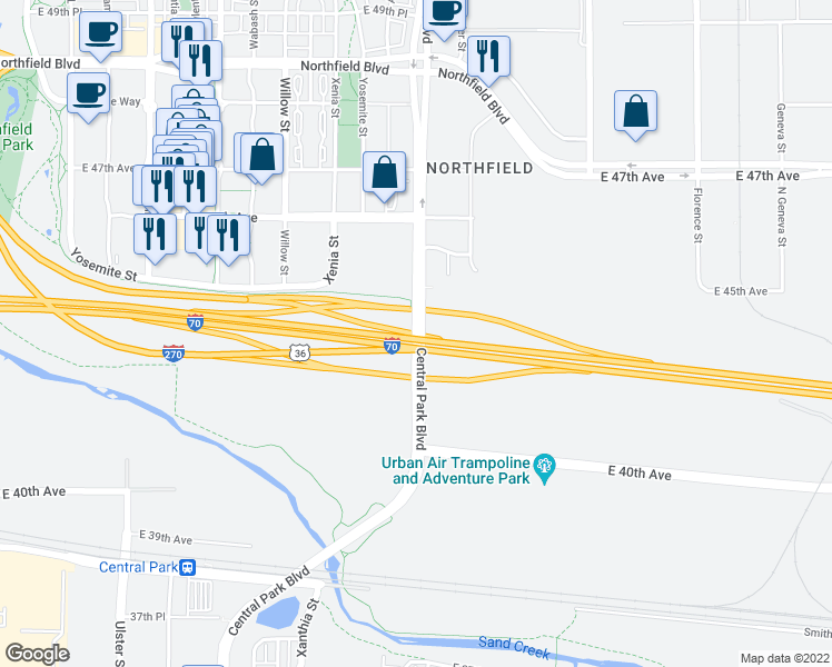 map of restaurants, bars, coffee shops, grocery stores, and more near Interstate 270 in Denver