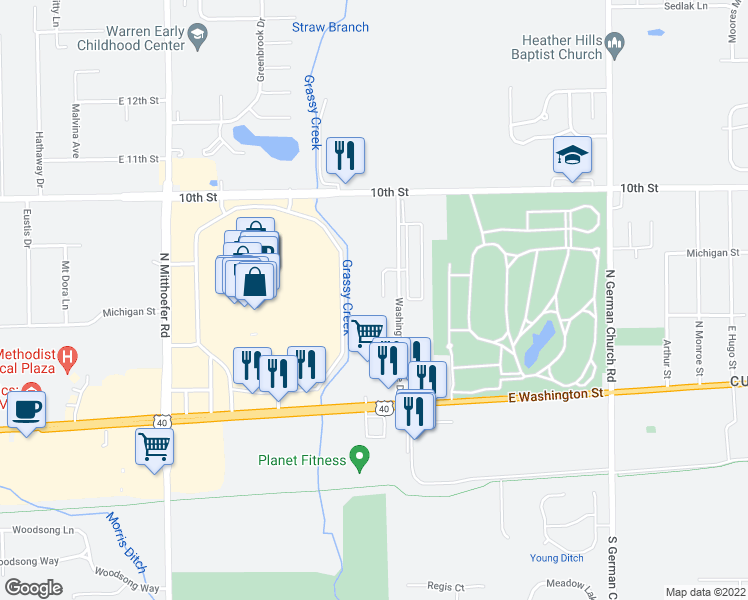 map of restaurants, bars, coffee shops, grocery stores, and more near 625 Belhaven Dr in Indianapolis
