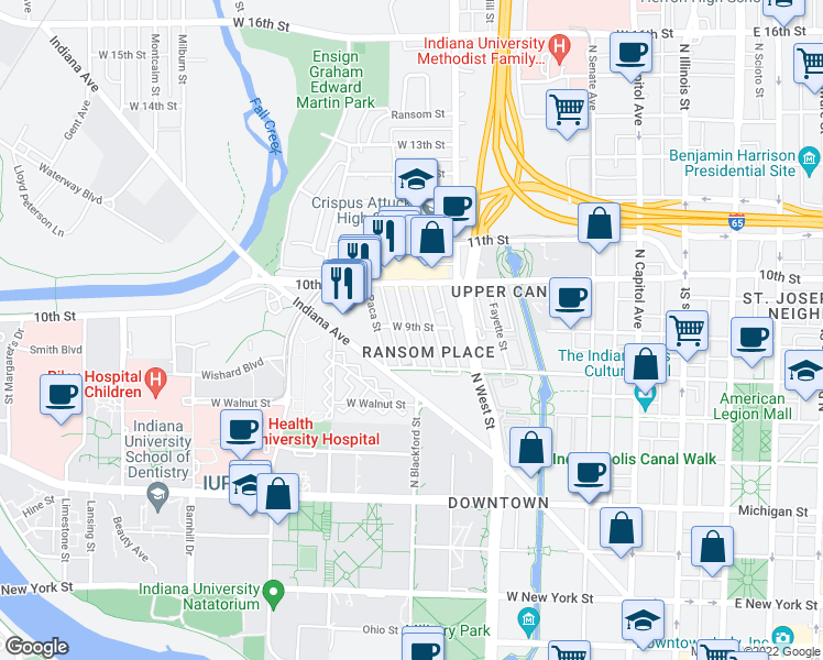 map of restaurants, bars, coffee shops, grocery stores, and more near 924 Camp Street in Indianapolis