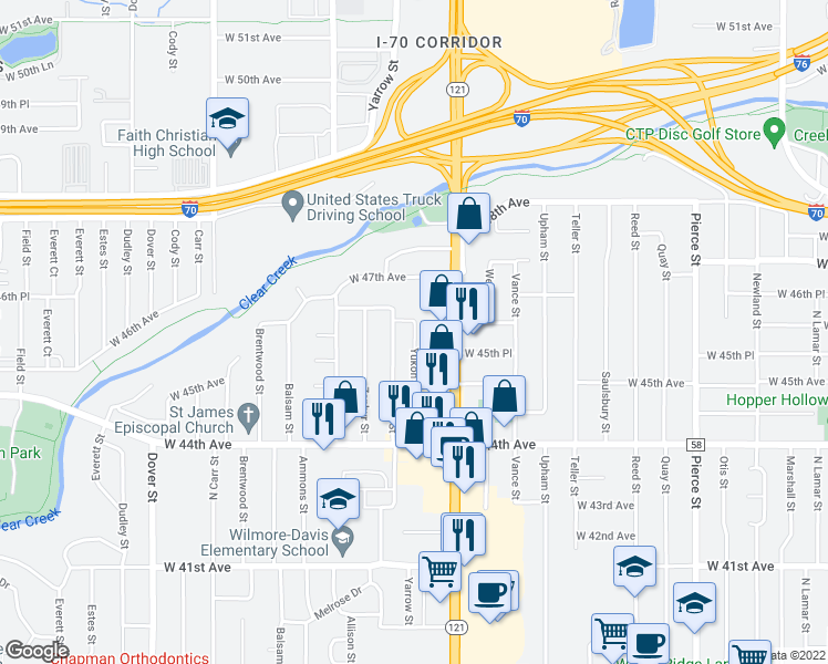 map of restaurants, bars, coffee shops, grocery stores, and more near 4585 Yukon Court in Wheat Ridge