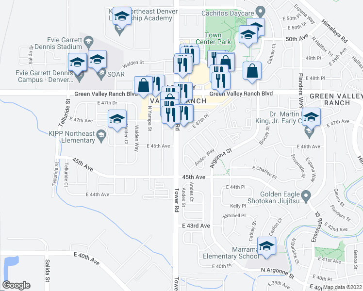 map of restaurants, bars, coffee shops, grocery stores, and more near 4545 Andes Street in Denver