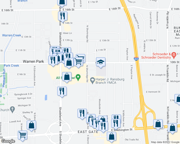 map of restaurants, bars, coffee shops, grocery stores, and more near 801 North Shortridge Road in Indianapolis