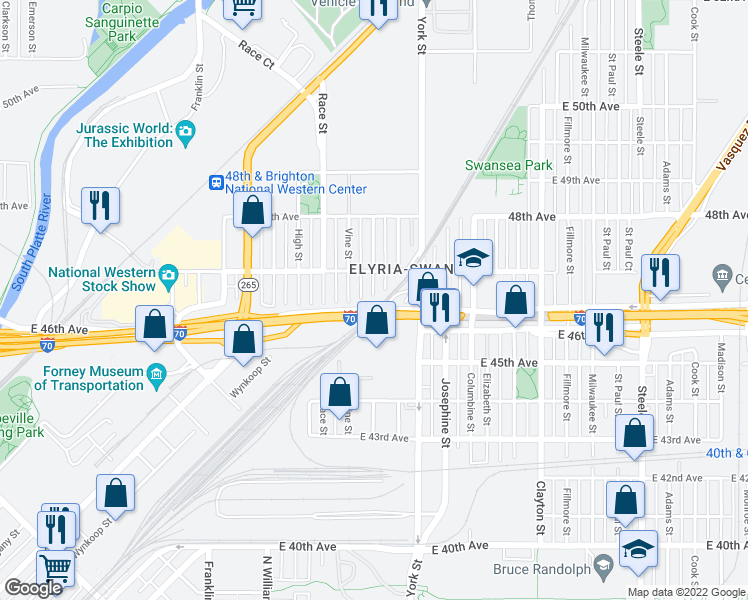 map of restaurants, bars, coffee shops, grocery stores, and more near Gaylord Street in Denver