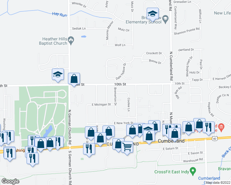 map of restaurants, bars, coffee shops, grocery stores, and more near Bremerton Drive in Indianapolis
