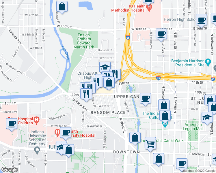 map of restaurants, bars, coffee shops, grocery stores, and more near 549 Oscar Robertson Boulevard in Indianapolis