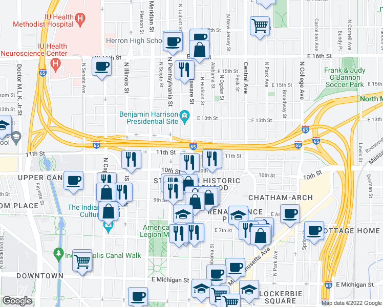 map of restaurants, bars, coffee shops, grocery stores, and more near 1040 North Delaware Street in Indianapolis