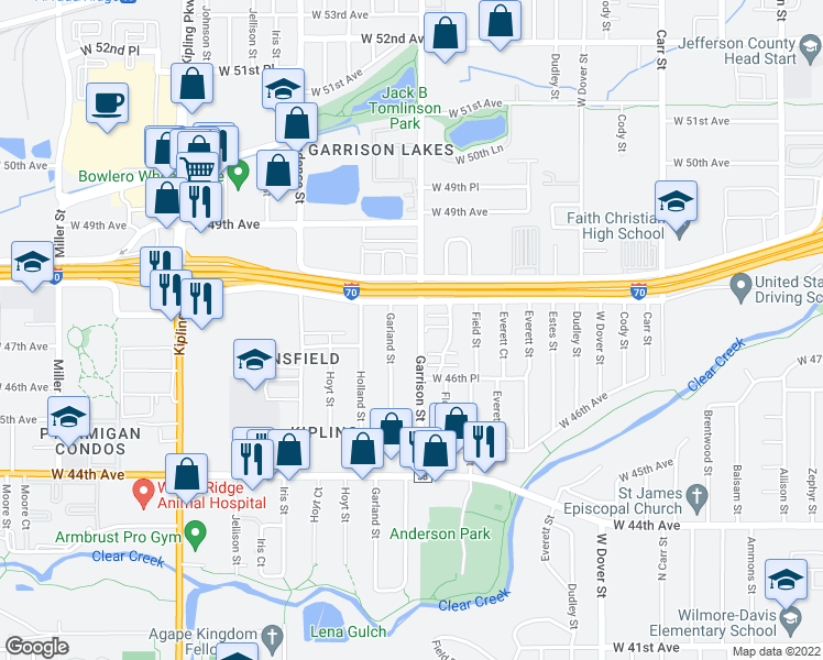 map of restaurants, bars, coffee shops, grocery stores, and more near 4695 Garrison Street in Wheat Ridge