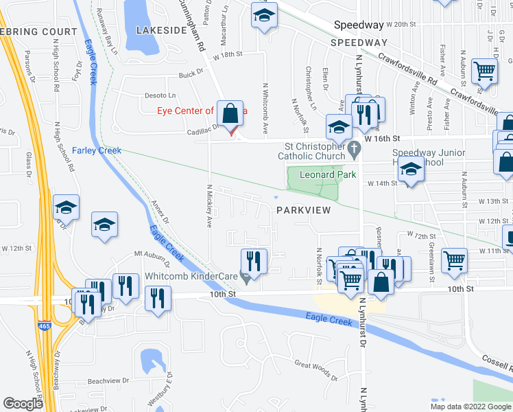 map of restaurants, bars, coffee shops, grocery stores, and more near 1301 North Whitcomb Avenue in Indianapolis