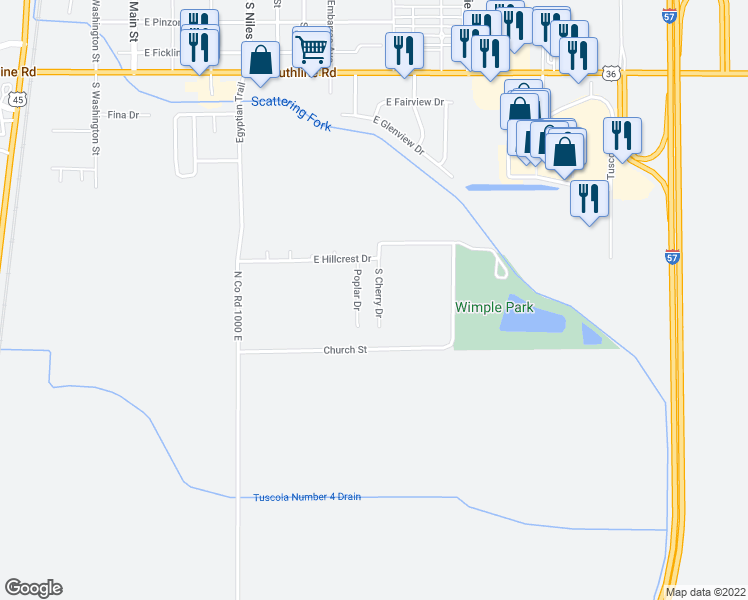 map of restaurants, bars, coffee shops, grocery stores, and more near 67 South Cherry Drive in Tuscola
