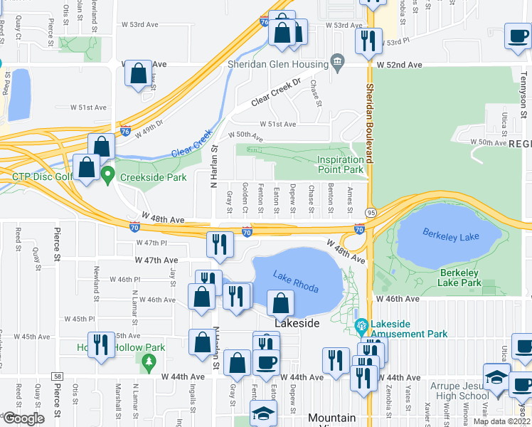 map of restaurants, bars, coffee shops, grocery stores, and more near 4820 Fenton Street in Denver