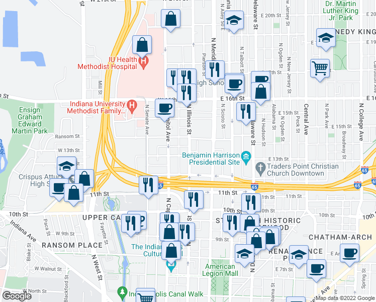 map of restaurants, bars, coffee shops, grocery stores, and more near 1330 North Illinois Street in Indianapolis