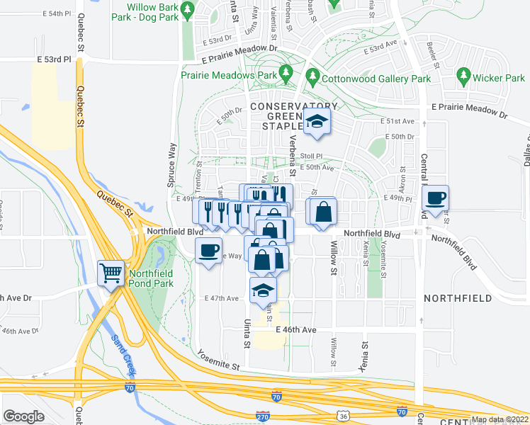 map of restaurants, bars, coffee shops, grocery stores, and more near 4925 Valentia Street in Denver