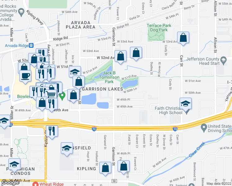 map of restaurants, bars, coffee shops, grocery stores, and more near 9168 West 50th Lane in Arvada