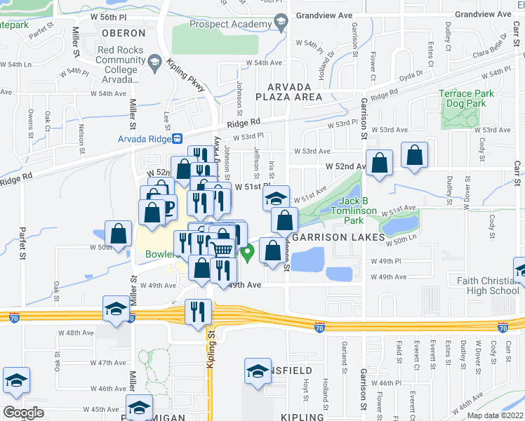 map of restaurants, bars, coffee shops, grocery stores, and more near 9725 West 50th Avenue in Wheat Ridge