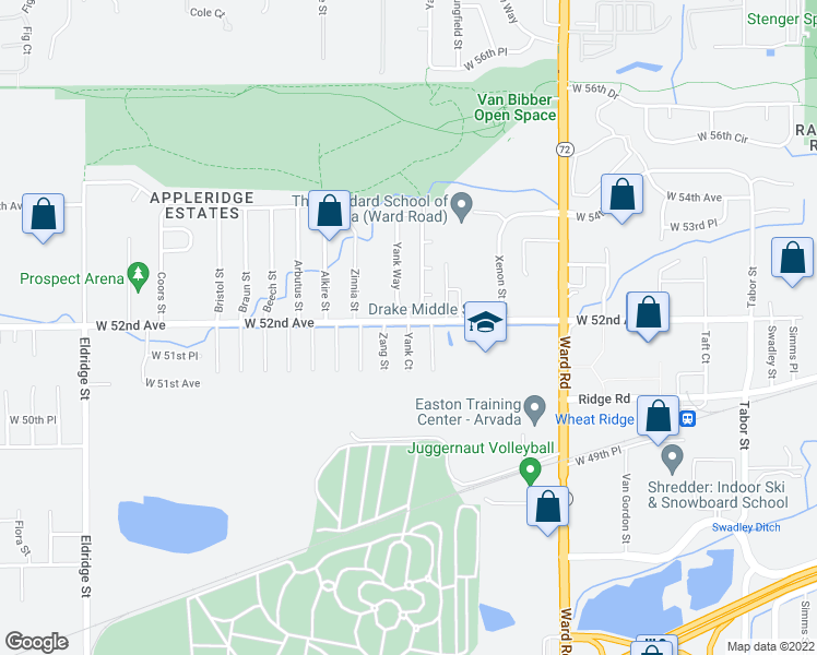 map of restaurants, bars, coffee shops, grocery stores, and more near 5192-5198 Yank Court in Arvada