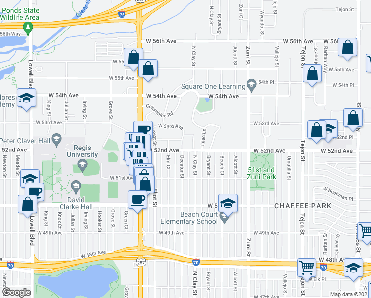 map of restaurants, bars, coffee shops, grocery stores, and more near 2791 West 52nd Avenue in Denver