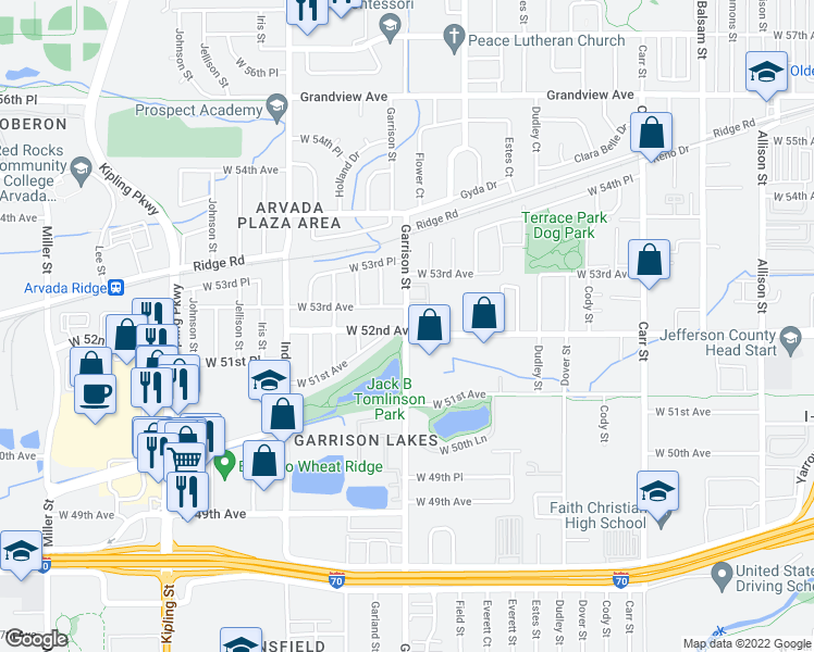 map of restaurants, bars, coffee shops, grocery stores, and more near 9201-9265 West 53rd Avenue in Arvada