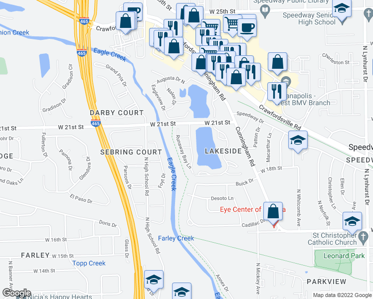 map of restaurants, bars, coffee shops, grocery stores, and more near 2030 Runaway Bay Drive in Speedway