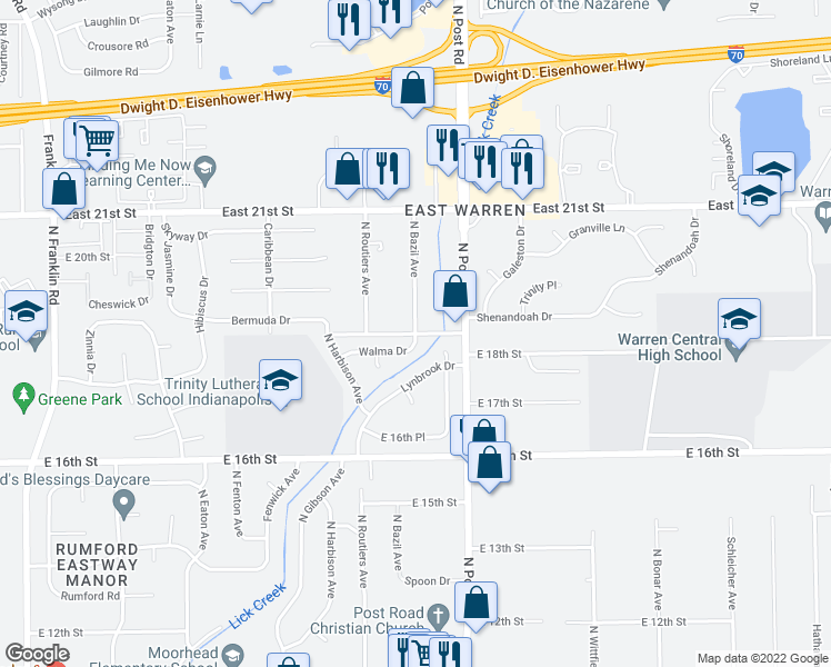 map of restaurants, bars, coffee shops, grocery stores, and more near North Bazil Avenue in Indianapolis