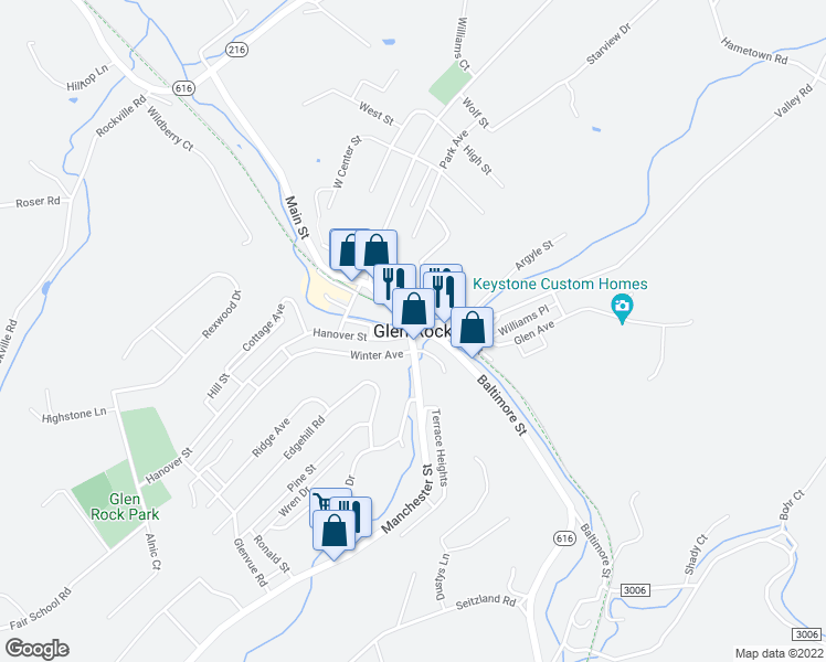 map of restaurants, bars, coffee shops, grocery stores, and more near 50 Water Street in Glen Rock