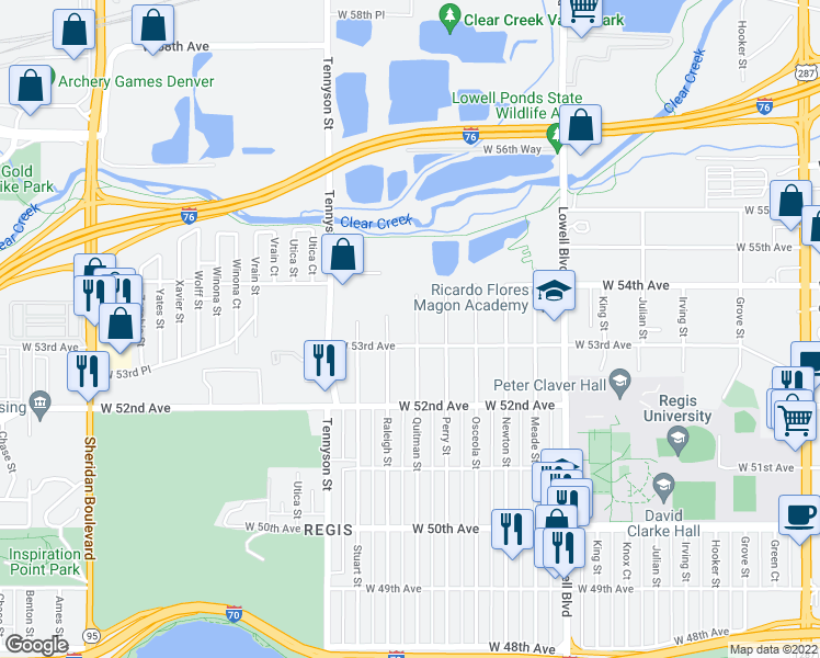 map of restaurants, bars, coffee shops, grocery stores, and more near 5335 Quitman Street in Denver