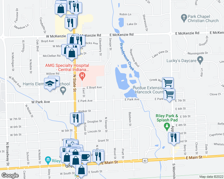 map of restaurants, bars, coffee shops, grocery stores, and more near 745 North Swope Street in Greenfield