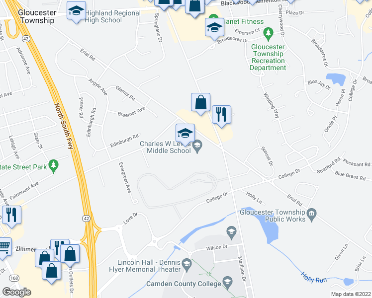 map of restaurants, bars, coffee shops, grocery stores, and more near 875 Erial Road in Gloucester Township