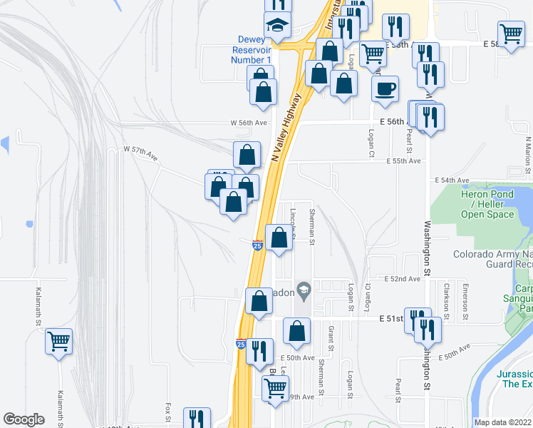 map of restaurants, bars, coffee shops, grocery stores, and more near Interstate 25 in Denver
