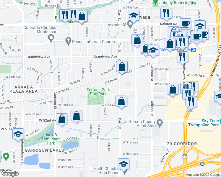 map of restaurants, bars, coffee shops, grocery stores, and more near 5401 Carr Street in Arvada
