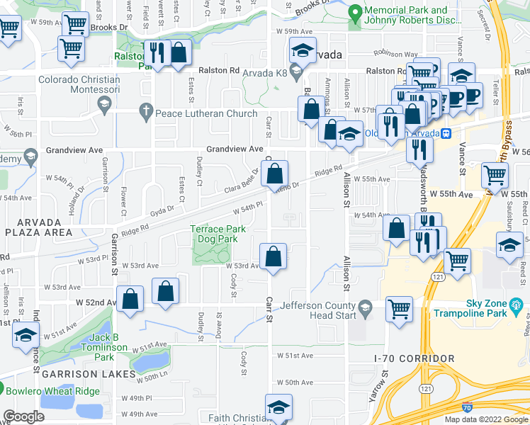map of restaurants, bars, coffee shops, grocery stores, and more near 5415 Carr Street in Arvada
