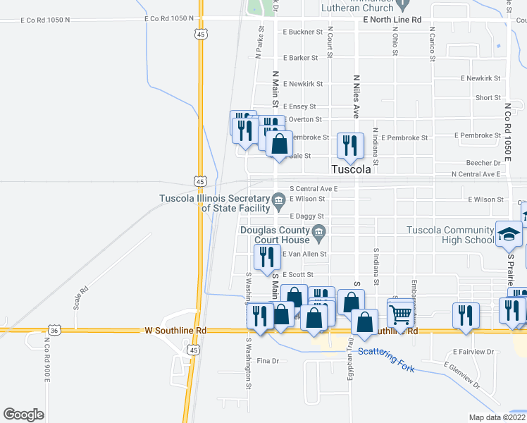 map of restaurants, bars, coffee shops, grocery stores, and more near 106 West Daggy Street in Tuscola