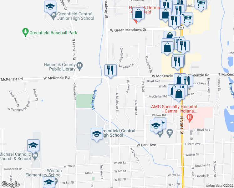 map of restaurants, bars, coffee shops, grocery stores, and more near 1020 North Michigan Street in Greenfield