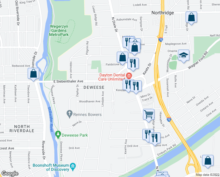 map of restaurants, bars, coffee shops, grocery stores, and more near 3505 Idlywilde Boulevard in Dayton