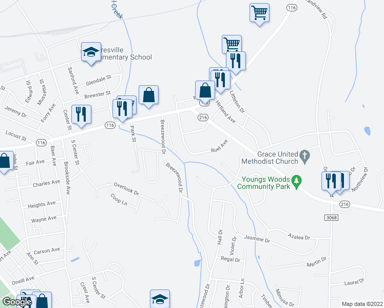 map of restaurants, bars, coffee shops, grocery stores, and more near Ruel Avenue in Hanover