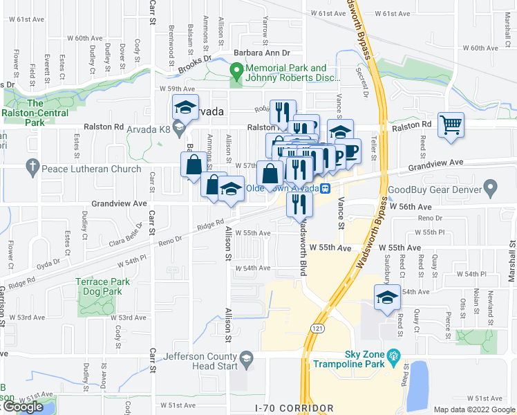 map of restaurants, bars, coffee shops, grocery stores, and more near 7806 Grandview Avenue in Arvada