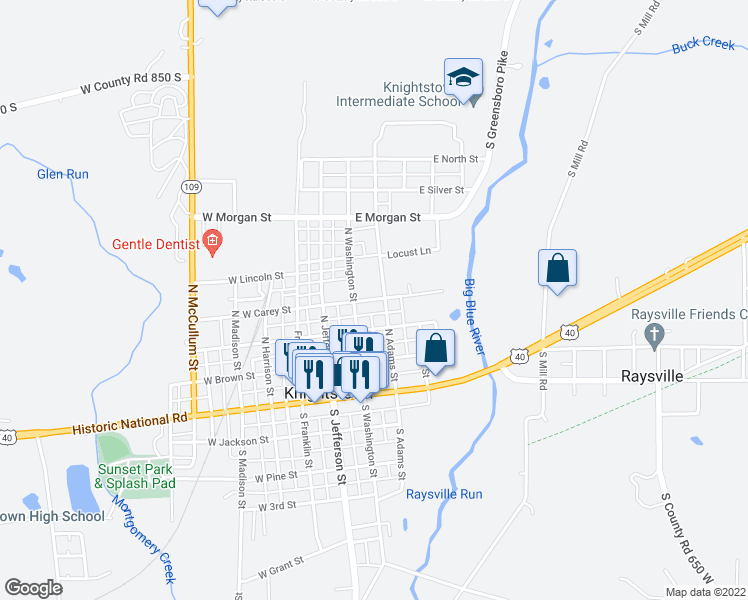 map of restaurants, bars, coffee shops, grocery stores, and more near 210 North Adams Street in Knightstown
